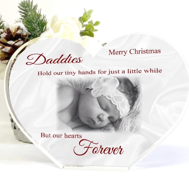 Acrylic Heart Dad Christmas Photo Block - tiny hands
