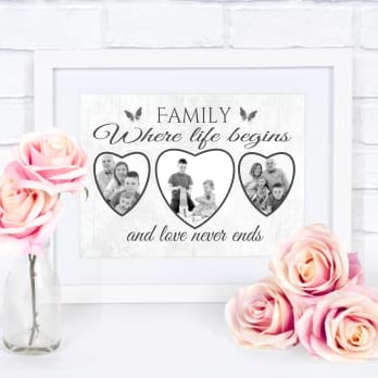 Framed personalised family collage