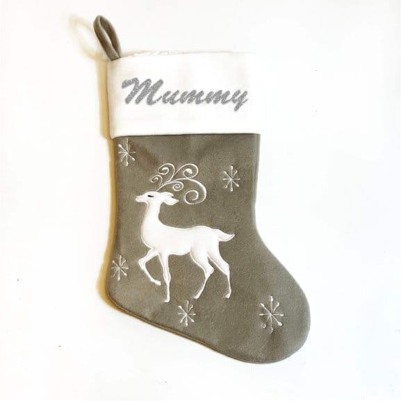Glitter Name Grey Reindeer Stocking