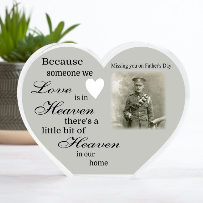 Personalised Father's Day Heaven Heart Block