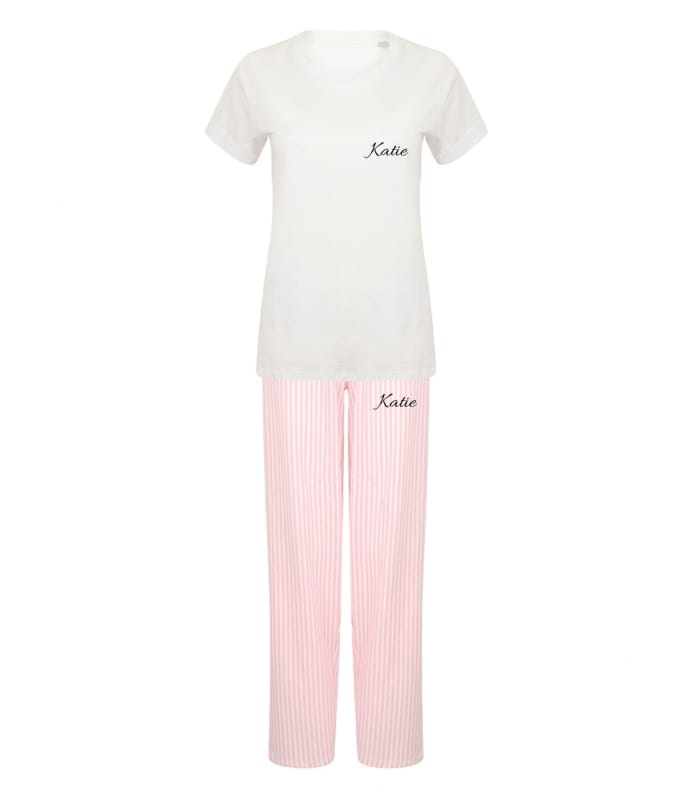 Personalised ladies pink and white pyjama set