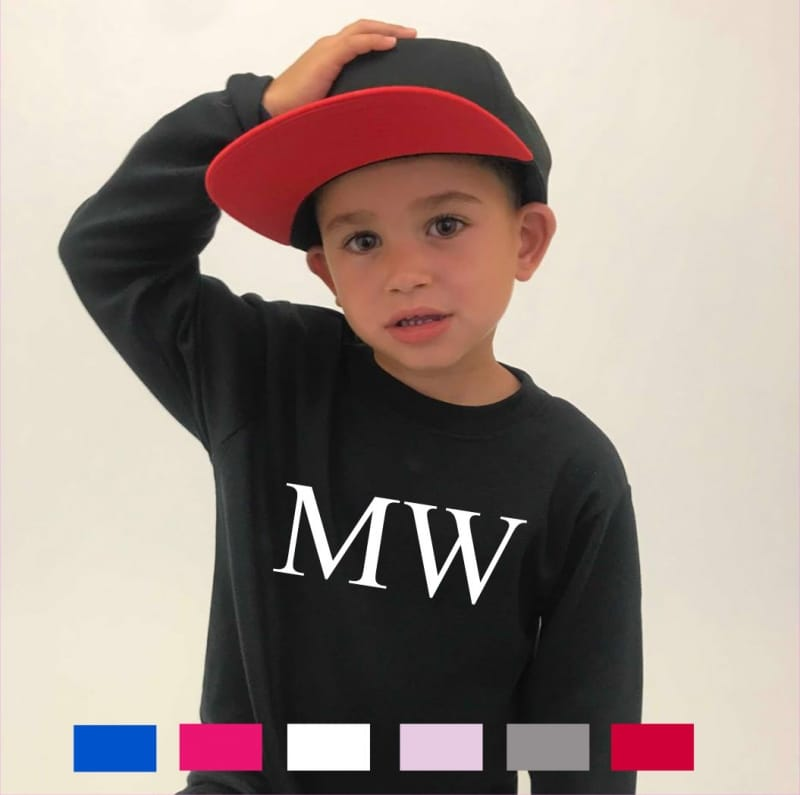 """Personalised """"large initials""""  long sleeved T-shirt"""