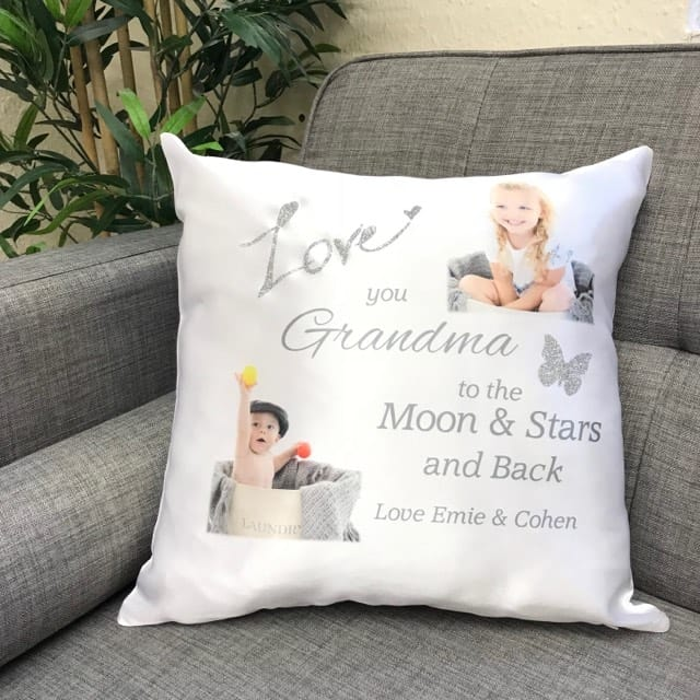 Personalised glitter cushion, add any name & 2 photos