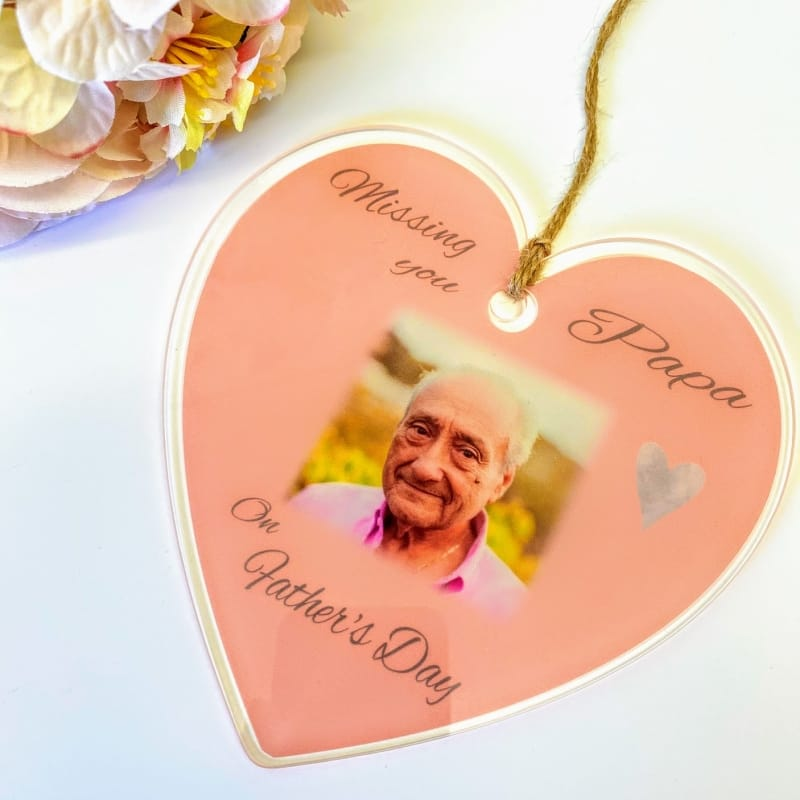 Personalised Acrylic Heart - Missing you Father's day