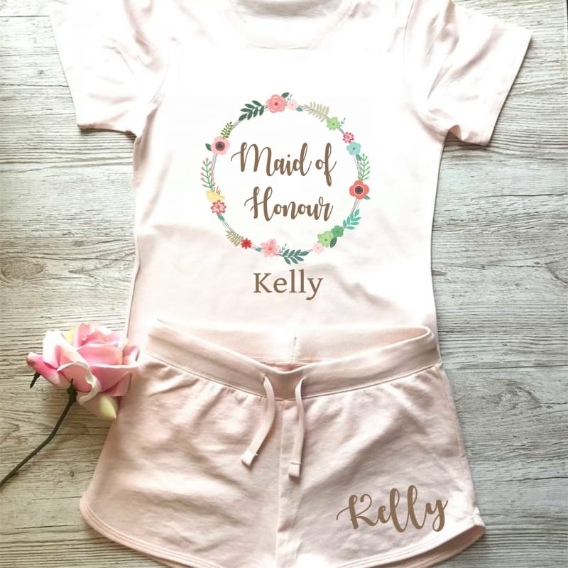Wedding party personalised floral lounge wear for the Maid of honour