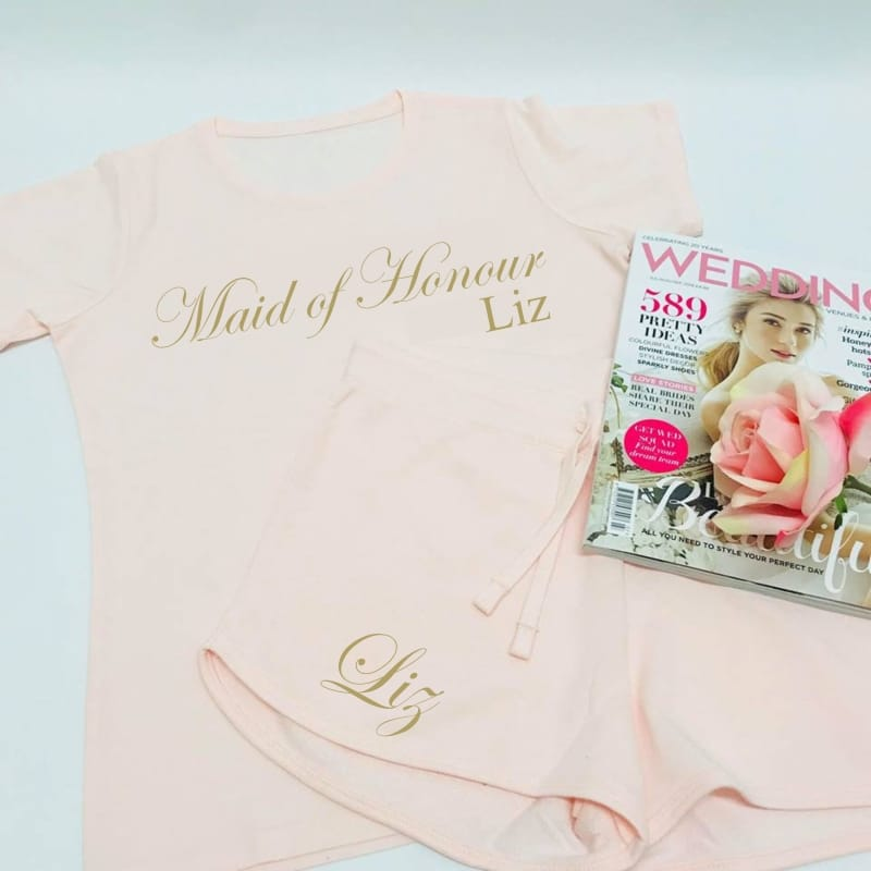 Wedding party personalised stylish lounge wear for the maid of honour