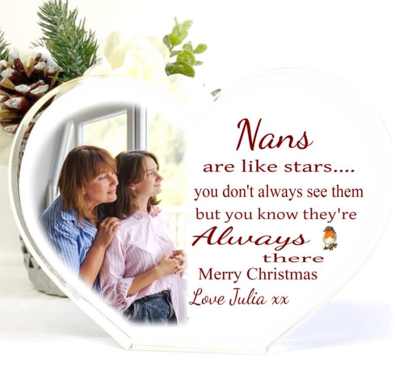 Christmas Acrylic Heart Block -Nans are like Stars