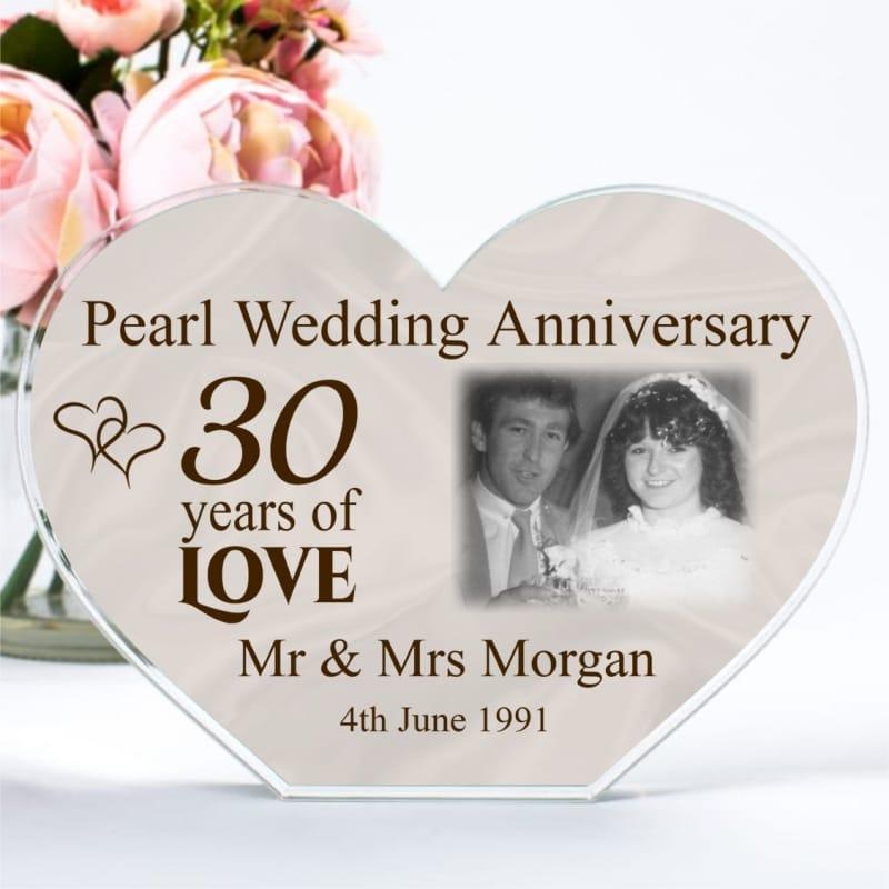 Personalised Acrylic Heart Photo Block - Pearl Anniversary