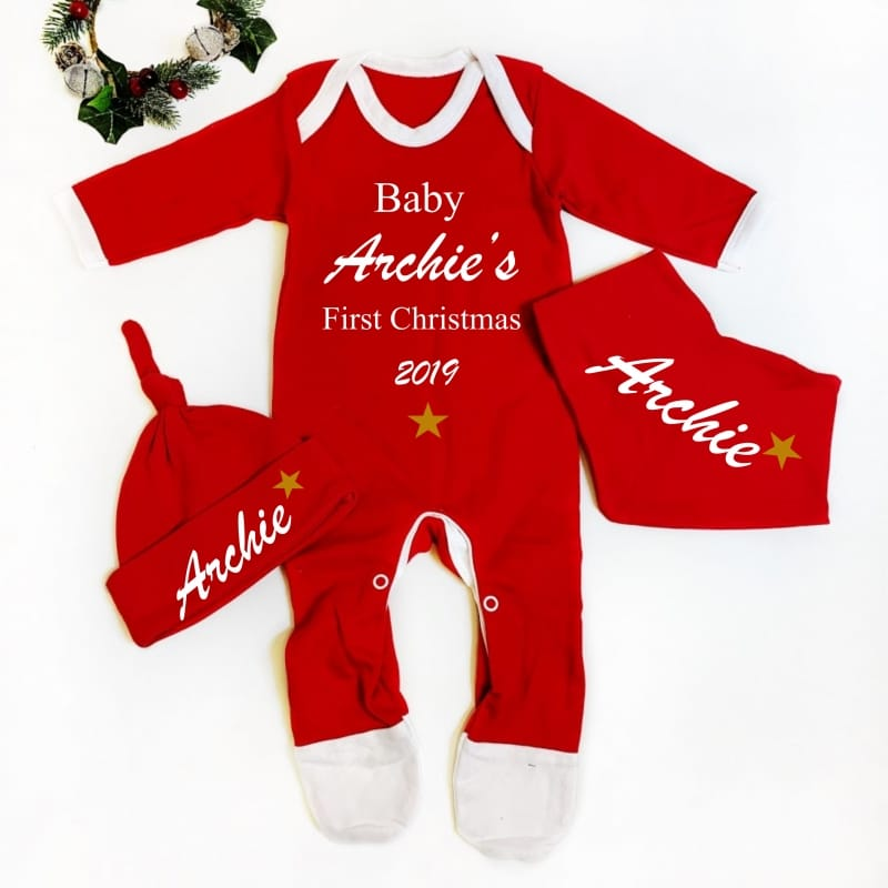 Personalised Baby 1st Christmas Set