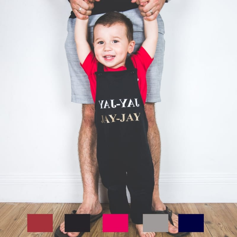 Personalised Gold text name Dungarees