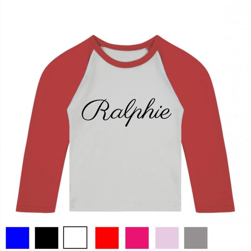 Personalised decorative font baseball T.shirt