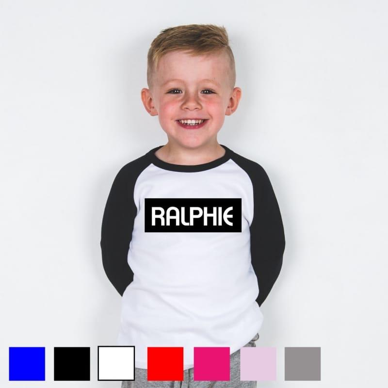 Personalised kid's name baseball T.shirt