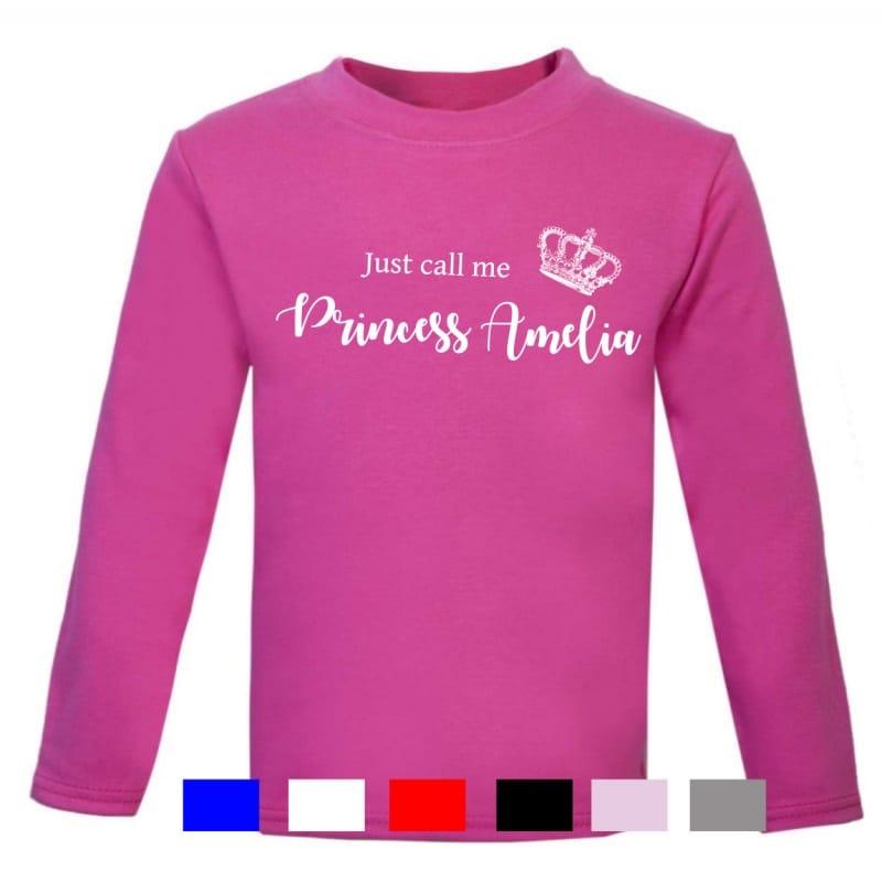 Personalised long sleeved princess t.shirt