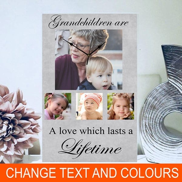 Photo clock, personalised gift for Grandparents