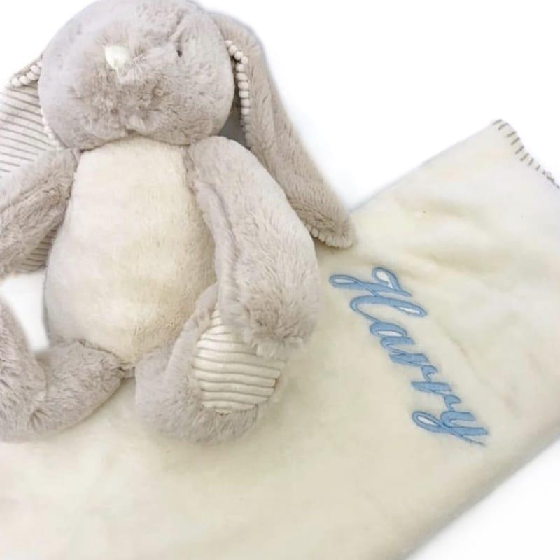 Personalised Rabbit & Blanket Gift Set