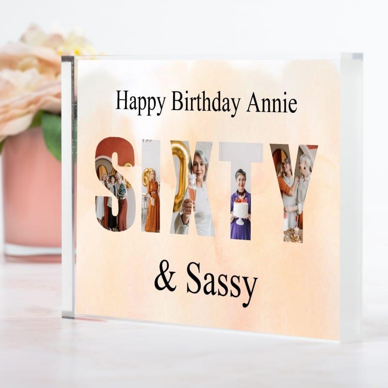 Sixty Birthday Personalised Photo Block