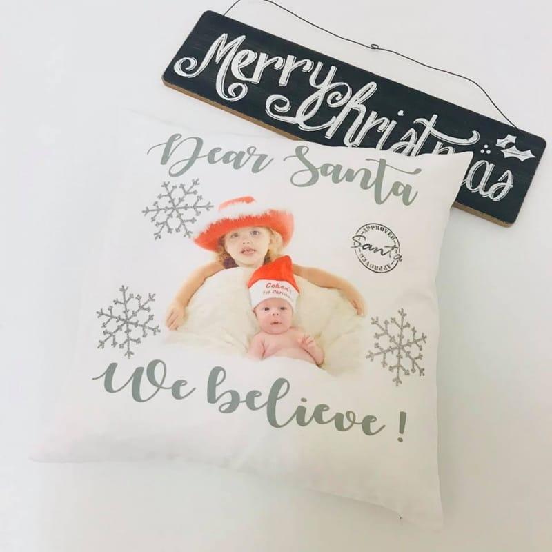 We Believe personalised Christmas glitter cushion
