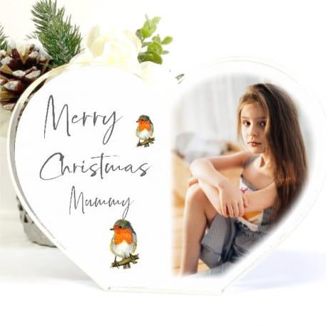 Personalised Acrylic Heart Christmas Block Mum