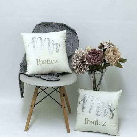 Personalised Mr & Mrs Cushions set