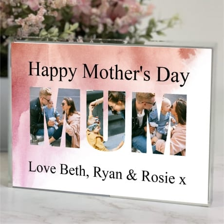 Mum personalised photo block collage mother's day