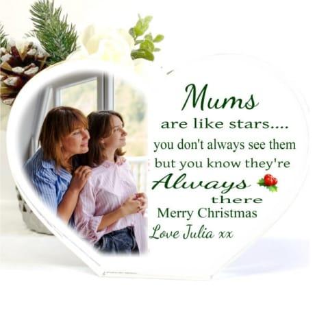 Christmas Acrylic Heart Block -Mums are like Stars