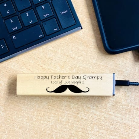 Personalised Wooden Power Bank Design 3