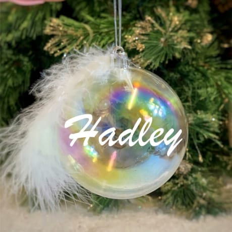 Personalised Feather name Bauble