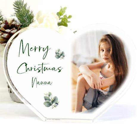 Personalised Acrylic Heart Christmas Block Nan