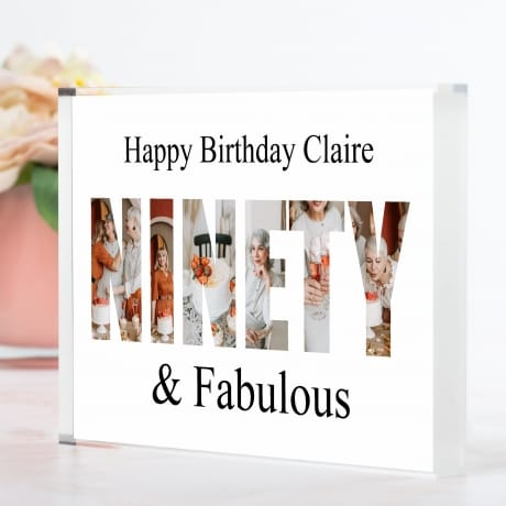Ninety Birthday Personalised Photo Block