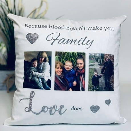 Personalised Glitter Cushion- Love Makes You Family