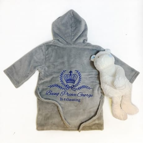 Personalised Embroidered Prince Dressing Gown Grey