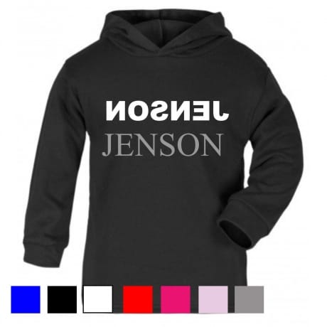 Personalised Silver text name hooded T-shirt