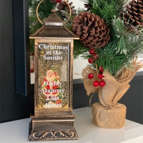 Tall Lantern Santa Snow Globe - Family Names