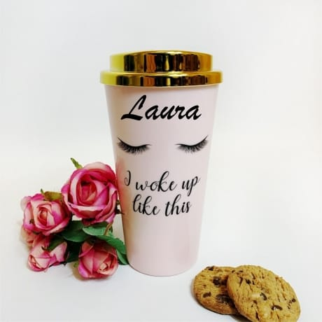 Personalised Name - Travel Mug Pink