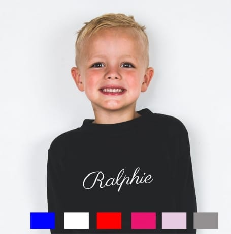 Personalised decorative font long sleeved T-shirt