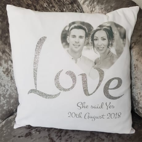 Personalised She said yes cushion