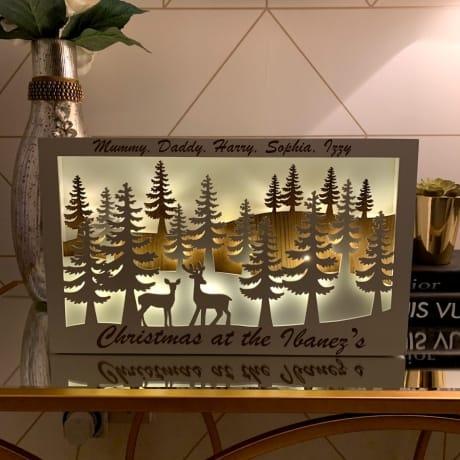 LED Reindeer Forest Scene Rectangle - Names