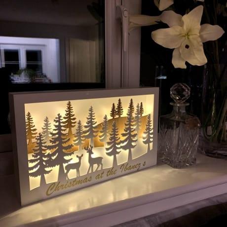 LED Reindeer Forest Scene Rectangle
