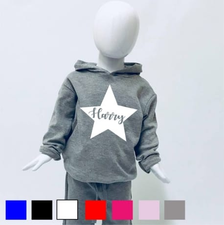 Personalised star name  hooded t-shirt