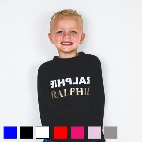 Personalised Gold text name long sleeved T-shirt