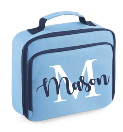 Personalised Lunch Bag Name And Initial Blue
