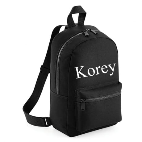 Personalised name Embroidered Backpack - Black