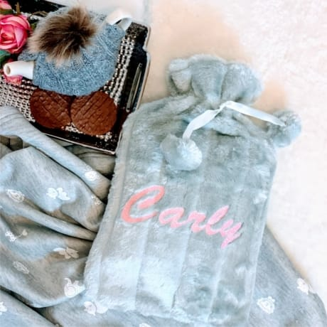 Deluxe Personalised Hot Water Bottle - Grey