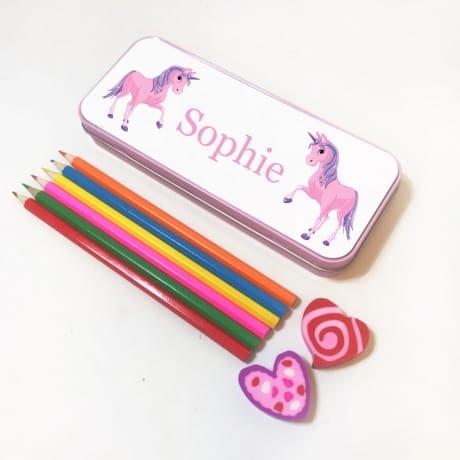 Personalised Pencil Tin - Unicorn