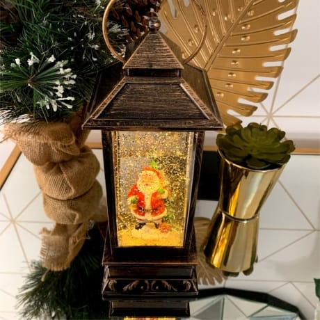 Tall Lantern Santa Snow Globe - Family Names