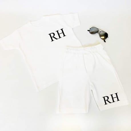 Embroidered, personalised short and T-shirt set