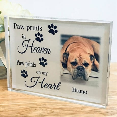Paw prints in heaven personalised photo block