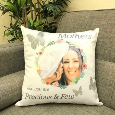 Personalised floral cushion with glitter butterflies