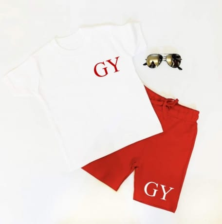 Embroidered Personalised short set - White & red
