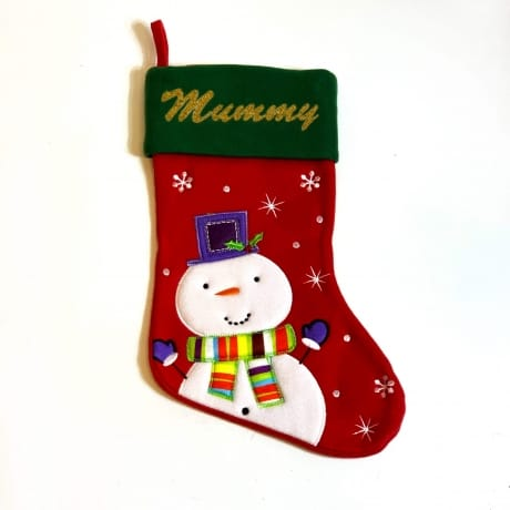 Glitter Name Red Green Snowman Stocking
